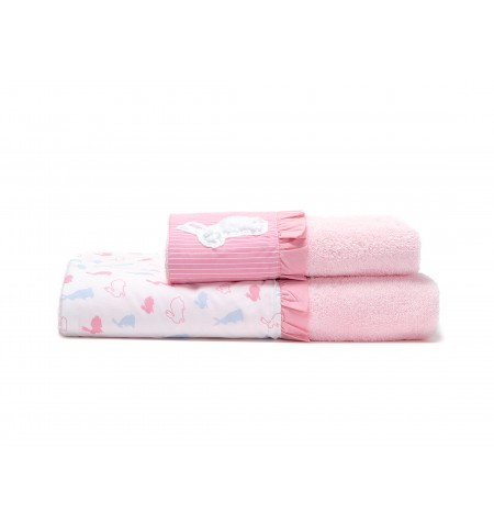 LAURA ASHLEY BABY TOWEL SET BUNNY 2PC